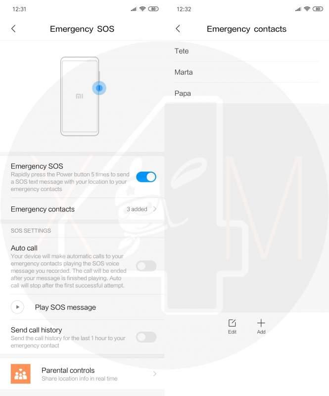 Activar SOS emergencia Xiaomi