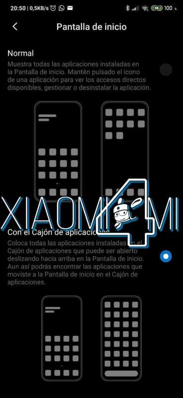 Xiaomi cajón aplicaciones