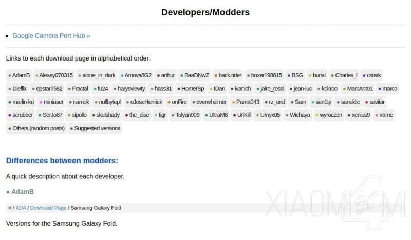 Modelos de móviles utilizados por los desarrolladores de las distintas apks de GCam Xiaomi