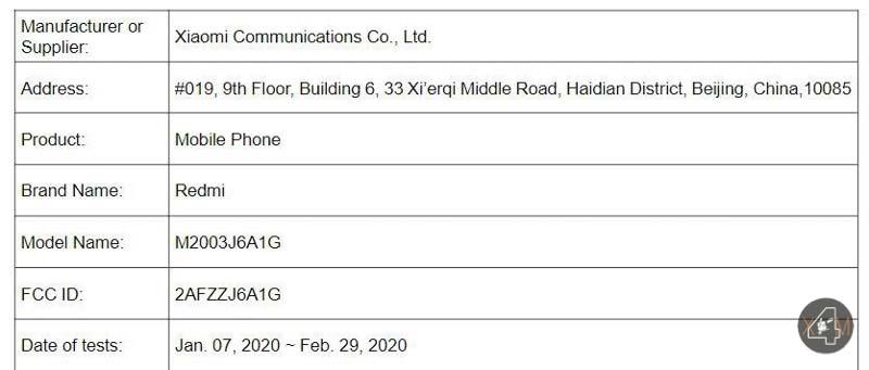 Redmi Note 9 Pro FCC